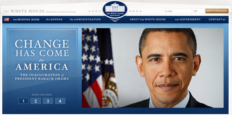 tuesday, january 20, 2009 - screenshot from whitehouse.gov