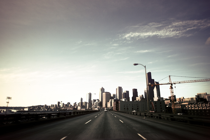 driving on hwy99 in downtown seattle