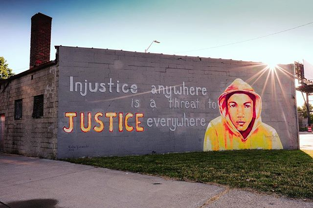 Beautiful mural in memory of #travonmartin #detroit #mlkquotes