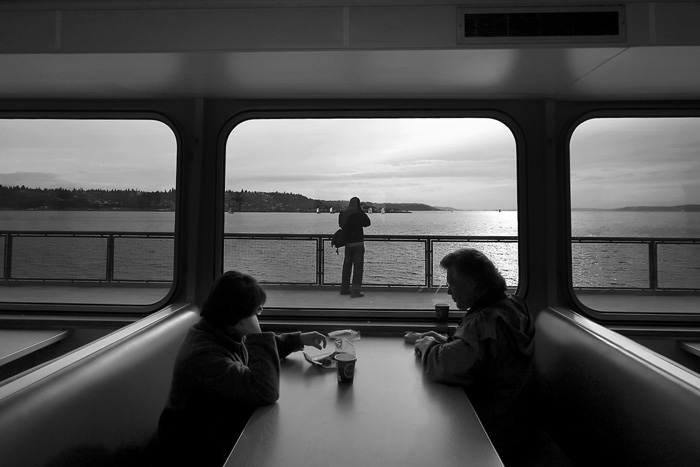 corey likes taking pictures on ferries